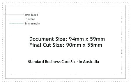 standard business card size